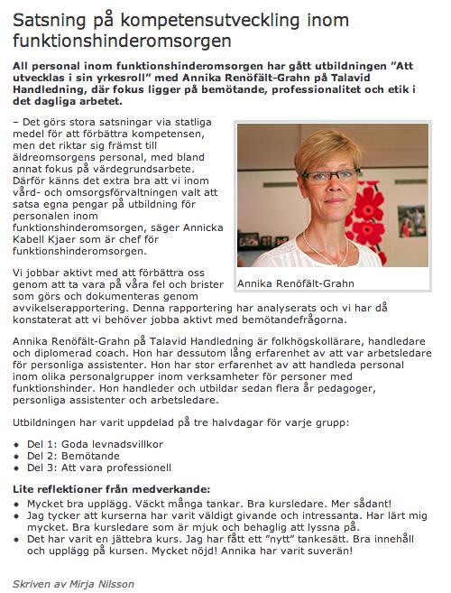 Från Vetlanda kommuns hemsida om Talavid Handledning.